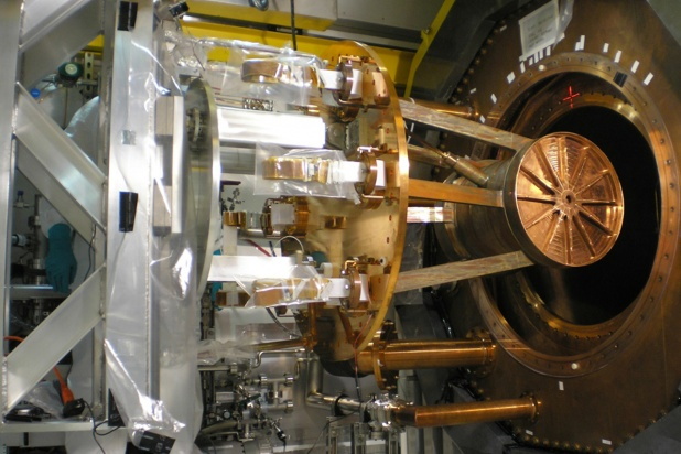 The EXO-200 detector during final assembly underground at the WIPP site in New Mexico