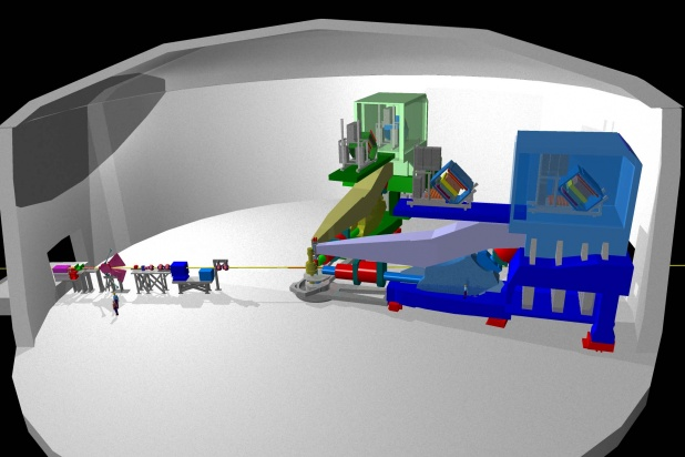 Layout of the High Resolution Spectrometers in Hall A at Jefferson Laboratory used for parity violation experiments.