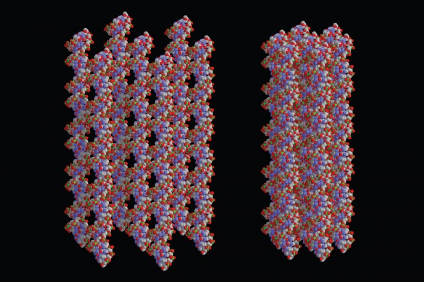 Inside a virus, the pressure felt by the DNA can be as high as 80 atmospheres. For comparison, a champagne bottle is 5 atmospheres.  How does DNA order under these conditions?  Based on experimental determinations, these are graphical renditions of DNA arrays at high and intermediate densities.  Images and work attributed to Adrian Parsegian and Rudlolf Podgornik.